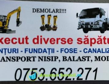Închiriez miniexcavator (excavator), Picon - Transport nisip, balast